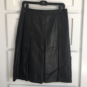 Halogen Black Faux Leather Pleated A-Line Skirt